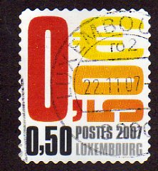 2007 50c 'POSTES LUXEMBOURG'  FINE USED