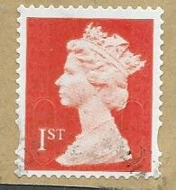 2014 1ST (S/A) 'ROYAL MAIL RED ' (MTIL M14L)  MACHIN FORGERY  WITH DIE CUT PERFORATIONS   FINE USED